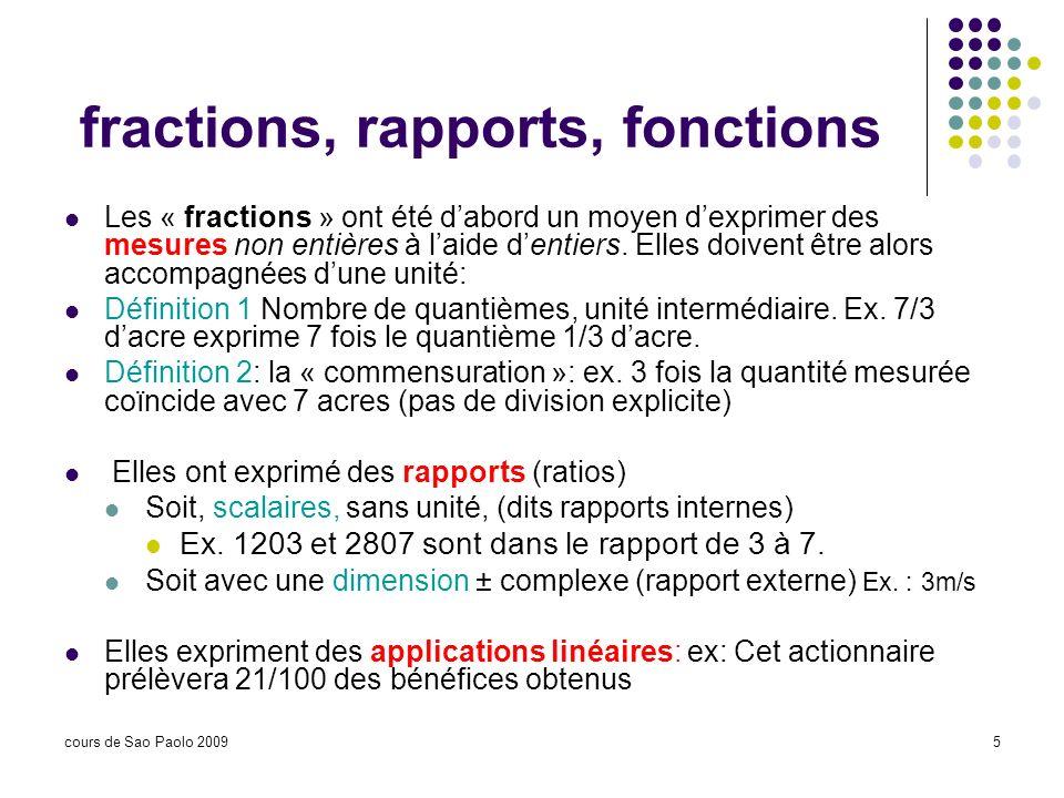 cours de Sao Paolo 20095 fractions, rapports, fonctions Les « fractions » ont été dabord un moyen dexprimer des mesures non entières à laide dentiers.