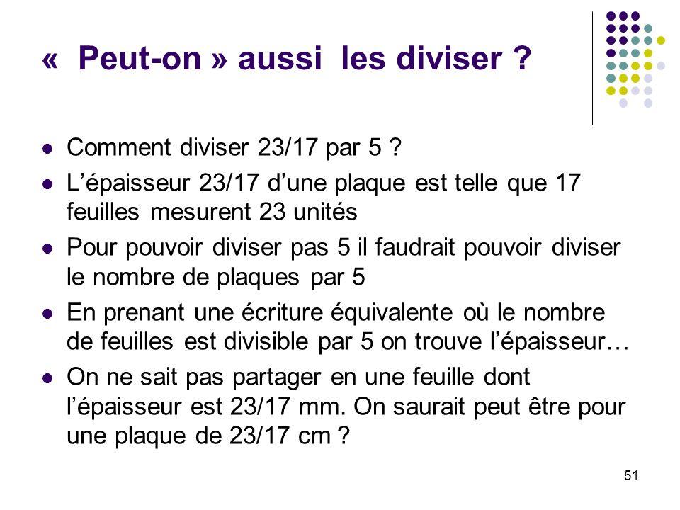 51 « Peut-on » aussi les diviser ? Comment diviser 23/17 par 5 ? Lépaisseur 23/17 dune plaque est telle que 17 feuilles mesurent 23 unités Pour pouvoi