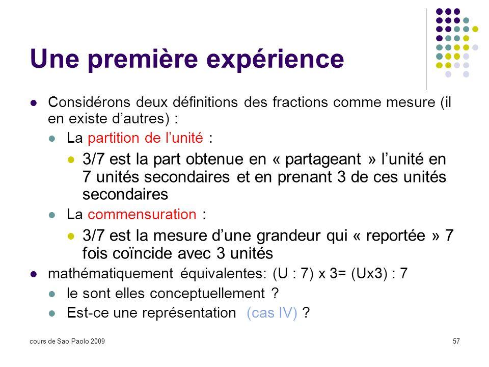 cours de Sao Paolo 200957 Une première expérience Considérons deux définitions des fractions comme mesure (il en existe dautres) : La partition de lun