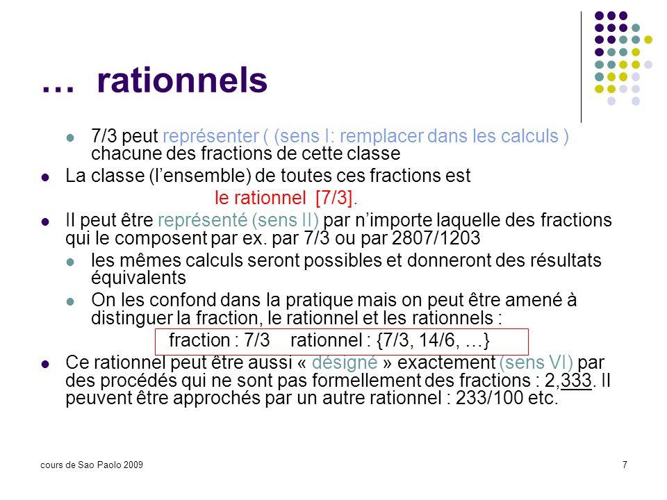 cours de Sao Paolo 20097 … rationnels 7/3 peut représenter ( (sens I: remplacer dans les calculs ) chacune des fractions de cette classe La classe (le