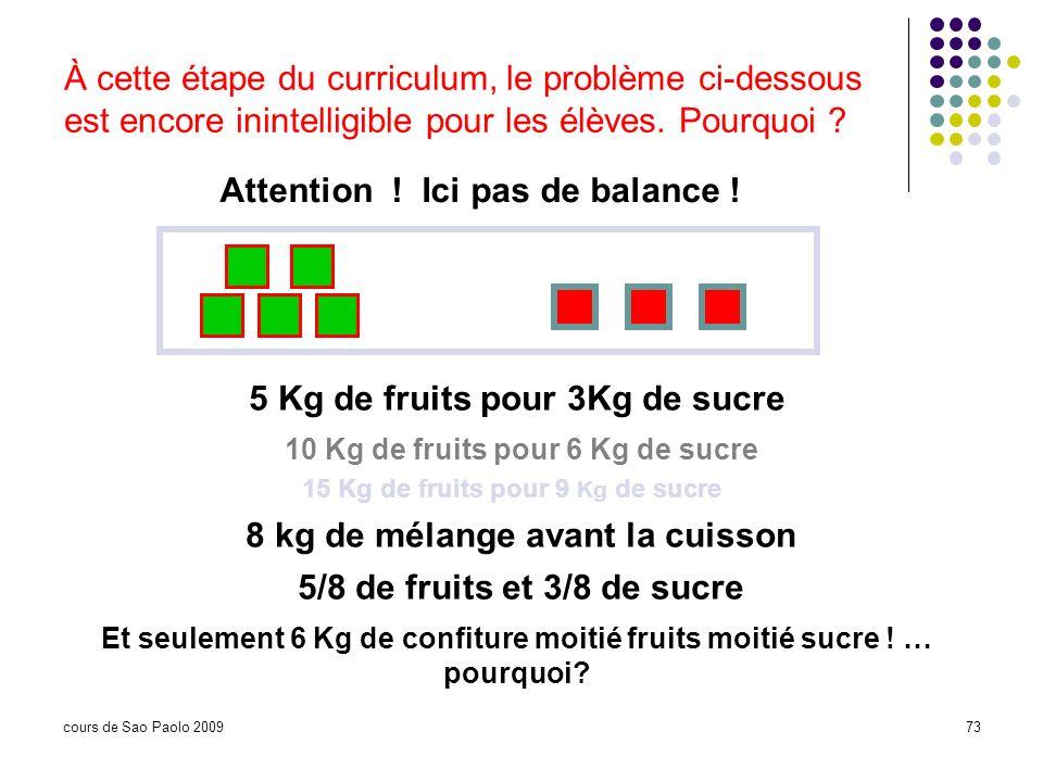 cours de Sao Paolo 200973 Attention ! Ici pas de balance ! 5 Kg de fruits pour 3Kg de sucre 10 Kg de fruits pour 6 Kg de sucre 15 Kg de fruits pour 9