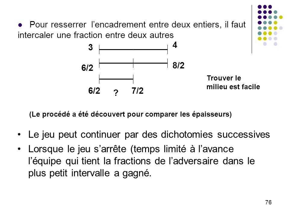 76 3 6/2 4 8/2 6/2 7/2 ? Pour resserrer lencadrement entre deux entiers, il faut intercaler une fraction entre deux autres (Le procédé a été découvert