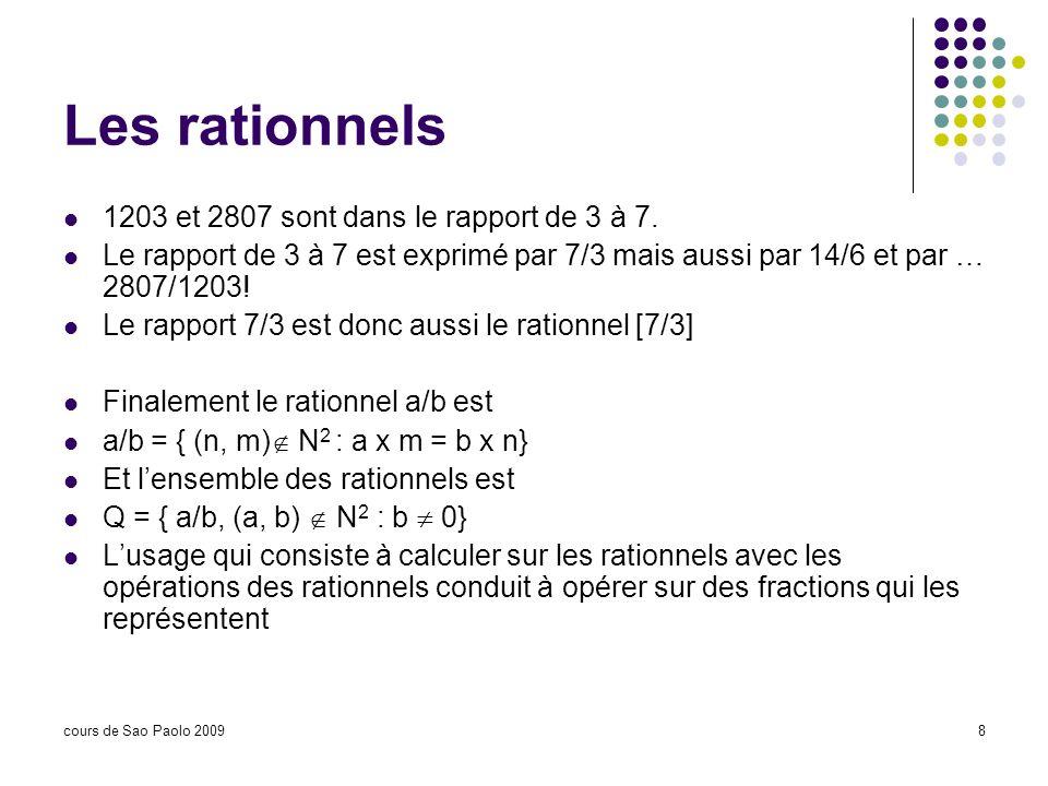 cours de Sao Paolo 20098 Les rationnels 1203 et 2807 sont dans le rapport de 3 à 7. Le rapport de 3 à 7 est exprimé par 7/3 mais aussi par 14/6 et par