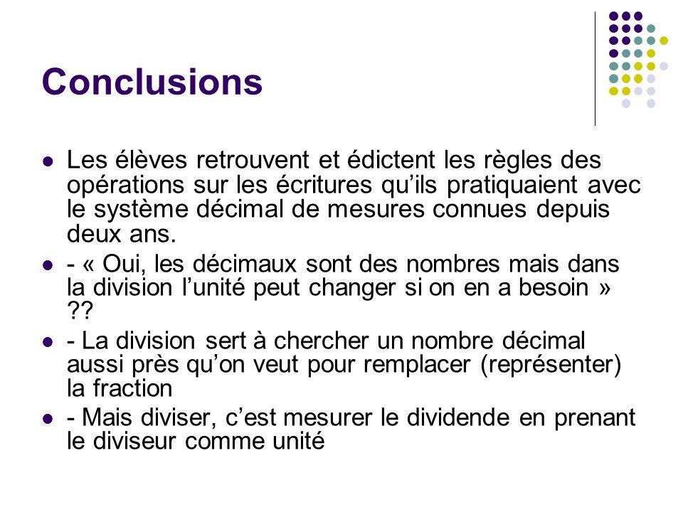 Conclusions Les élèves retrouvent et édictent les règles des opérations sur les écritures quils pratiquaient avec le système décimal de mesures connue