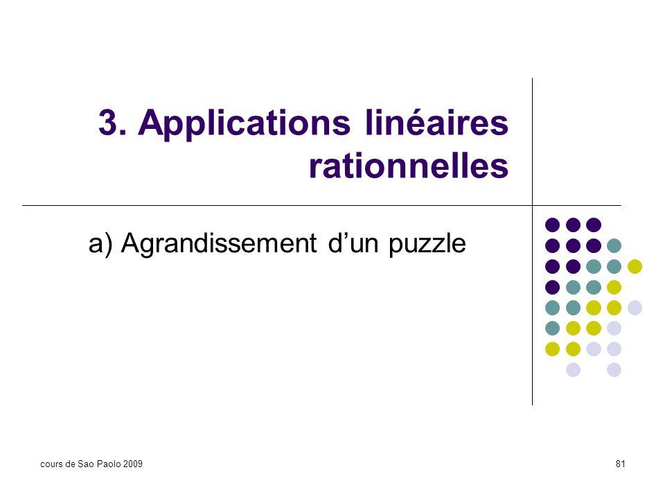 cours de Sao Paolo 200981 3. Applications linéaires rationnelles a) Agrandissement dun puzzle