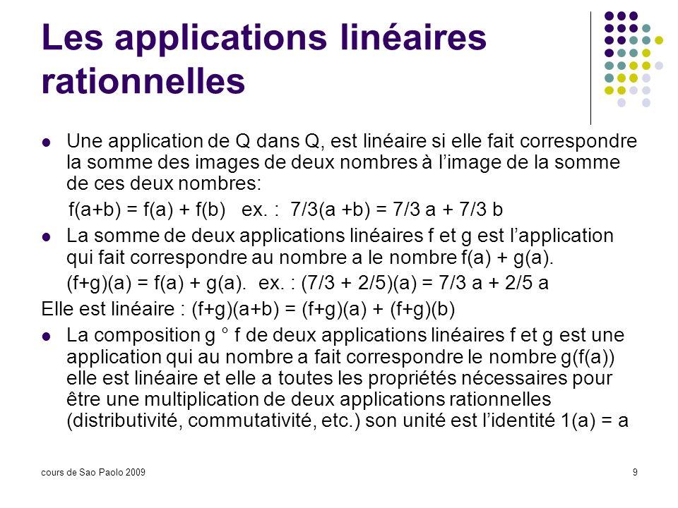 cours de Sao Paolo 20099 Les applications linéaires rationnelles Une application de Q dans Q, est linéaire si elle fait correspondre la somme des imag