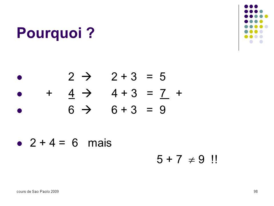 cours de Sao Paolo 200998 Pourquoi ? 2 2 + 3 = 5 + 4 4 + 3 = 7 + 6 6 + 3 = 9 2 + 4 = 6 mais 5 + 7 9 !!