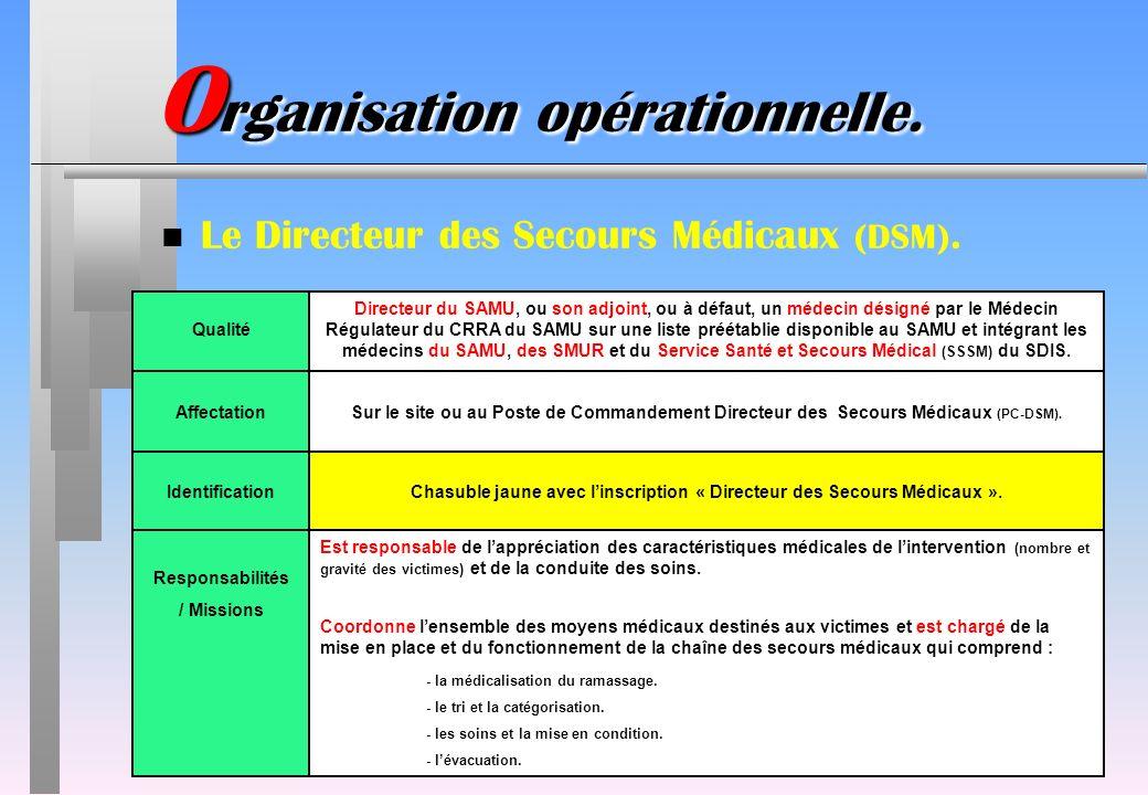 IdentificationChasuble jaune avec linscription « Directeur des Secours Médicaux ». Responsabilités / Missions Est responsable de lappréciation des car