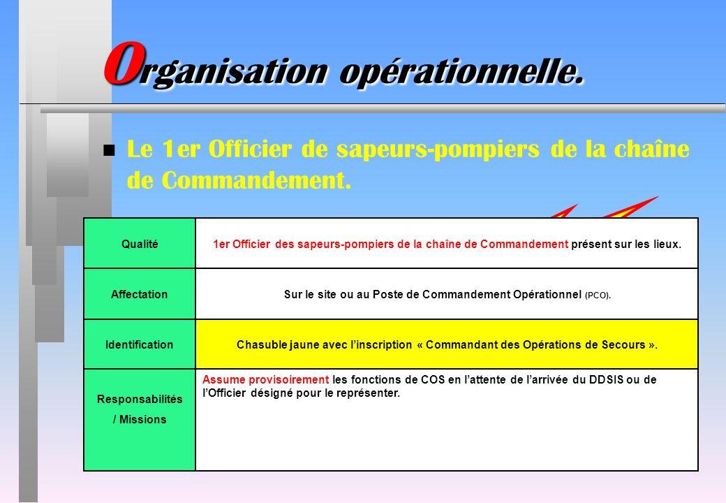 ATTENTION : NOUVEAUTE !!! IdentificationChasuble jaune avec linscription « Commandant des Opérations de Secours ». Responsabilités / Missions Assume p