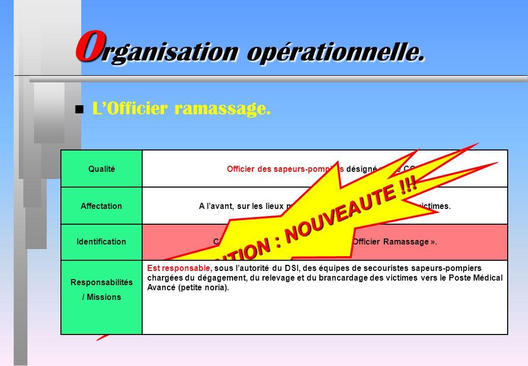 IdentificationChasuble rouge avec linscription « Officier Ramassage ». O rganisation opérationnelle. n LOfficier ramassage. QualitéOfficier des sapeur