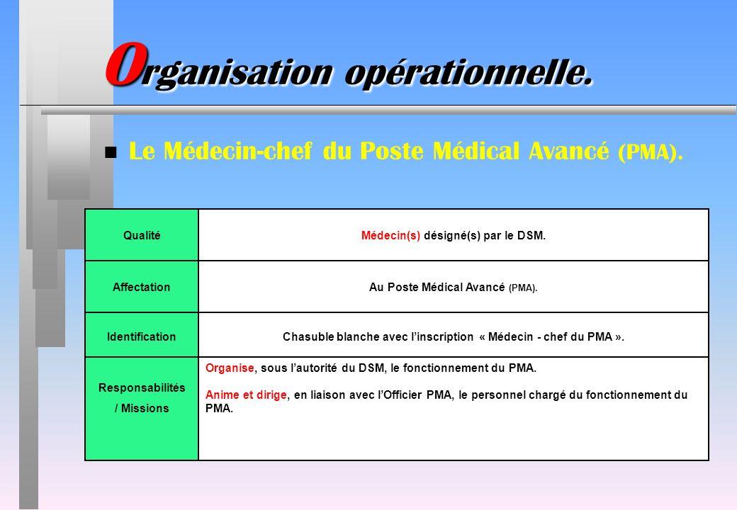 O rganisation opérationnelle. n Le Médecin-chef du Poste Médical Avancé (PMA). IdentificationChasuble blanche avec linscription « Médecin - chef du PM