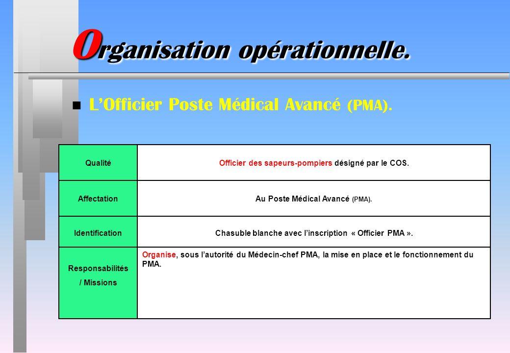 O rganisation opérationnelle. n LOfficier Poste Médical Avancé (PMA). IdentificationChasuble blanche avec linscription « Officier PMA ». QualitéOffici