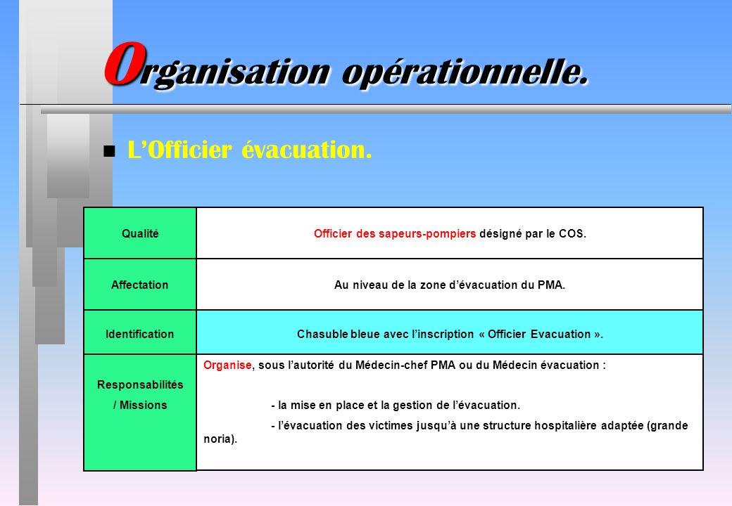 O rganisation opérationnelle. n LOfficier évacuation. IdentificationChasuble bleue avec linscription « Officier Evacuation ». QualitéOfficier des sape