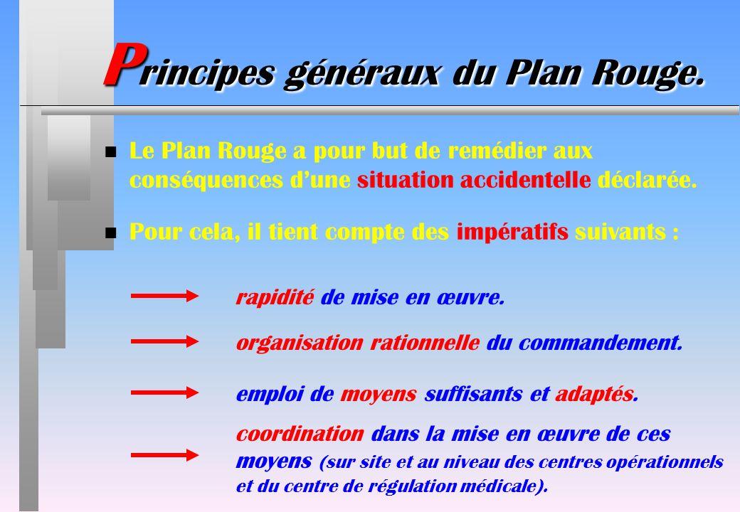 P rincipes généraux du Plan Rouge. n Le Plan Rouge a pour but de remédier aux conséquences dune situation accidentelle déclarée. n Pour cela, il tient