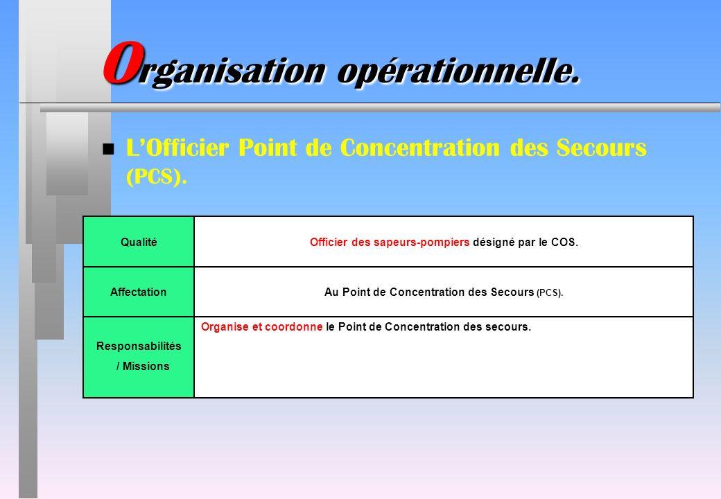 O rganisation opérationnelle. n LOfficier Point de Concentration des Secours (PCS). QualitéOfficier des sapeurs-pompiers désigné par le COS. Affectati