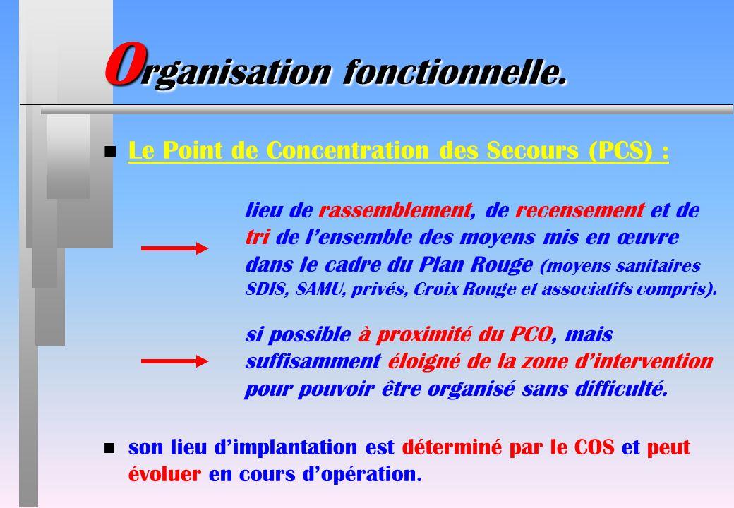 O rganisation fonctionnelle. n Le Point de Concentration des Secours (PCS) : lieu de rassemblement, de recensement et de tri de lensemble des moyens m