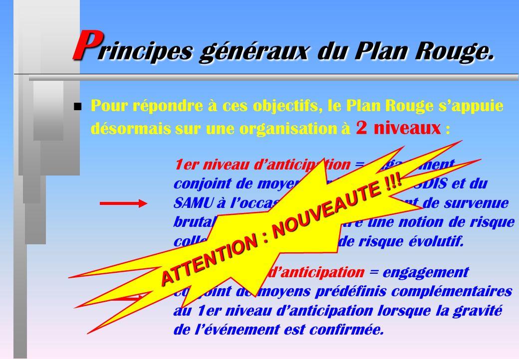 ATTENTION : NOUVEAUTE !!! P rincipes généraux du Plan Rouge. n Pour répondre à ces objectifs, le Plan Rouge sappuie désormais sur une organisation à 2
