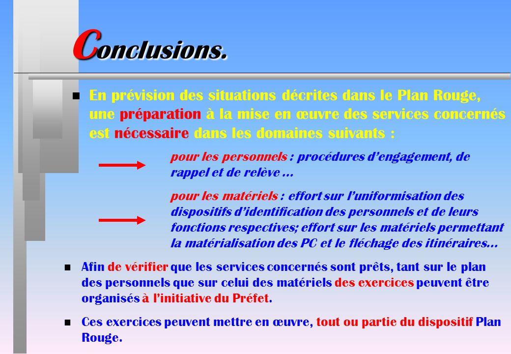 C onclusions. n En prévision des situations décrites dans le Plan Rouge, une préparation à la mise en œuvre des services concernés est nécessaire dans