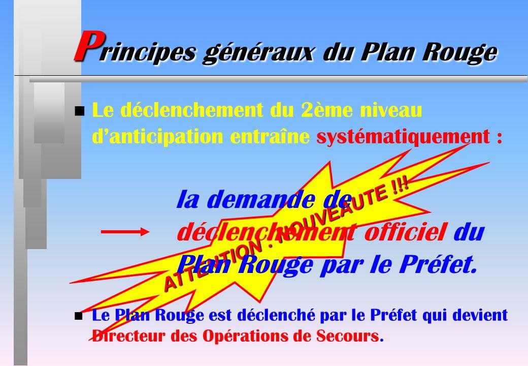 P rincipes généraux du Plan Rouge ATTENTION : NOUVEAUTE !!! n Le déclenchement du 2ème niveau danticipation entraîne systématiquement : la demande de