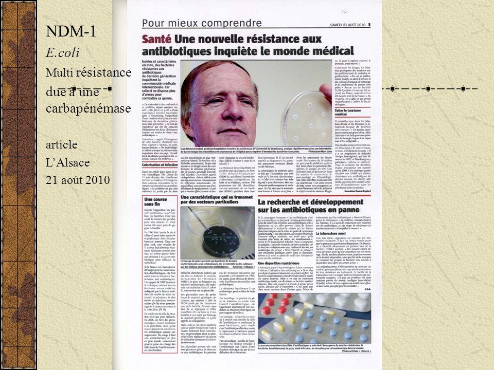 NDM-1 E.coli Multi résistance due à une carbapénémase article LAlsace 21 août 2010