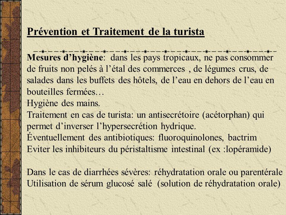 Prévention et Traitement de la turista Mesures dhygiène: dans les pays tropicaux, ne pas consommer de fruits non pelés à létal des commerces, de légum