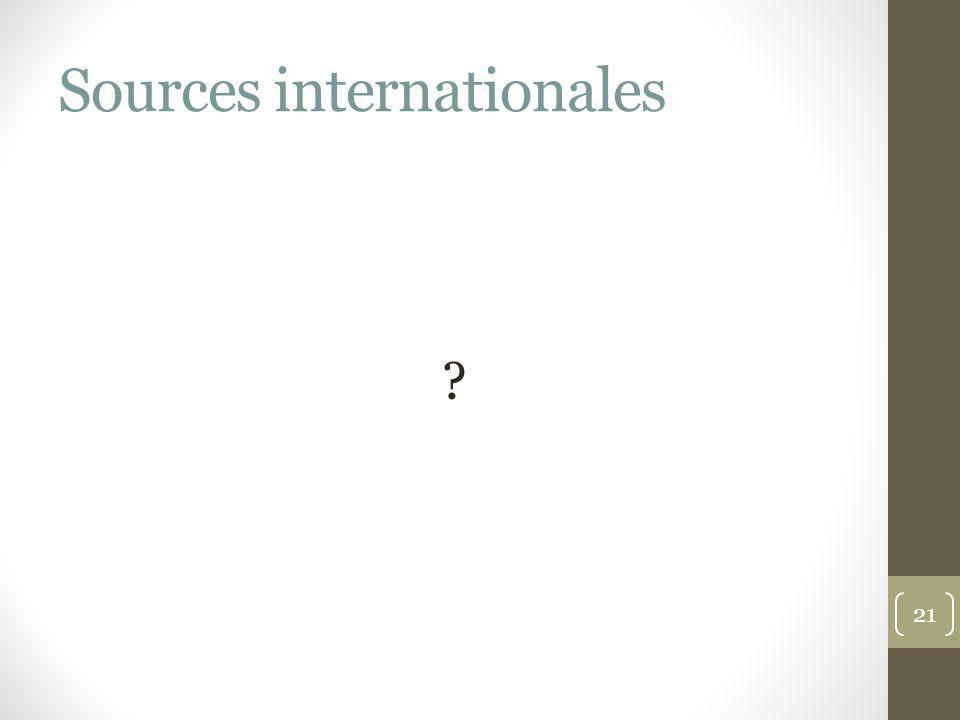 Sources internationales ? 21
