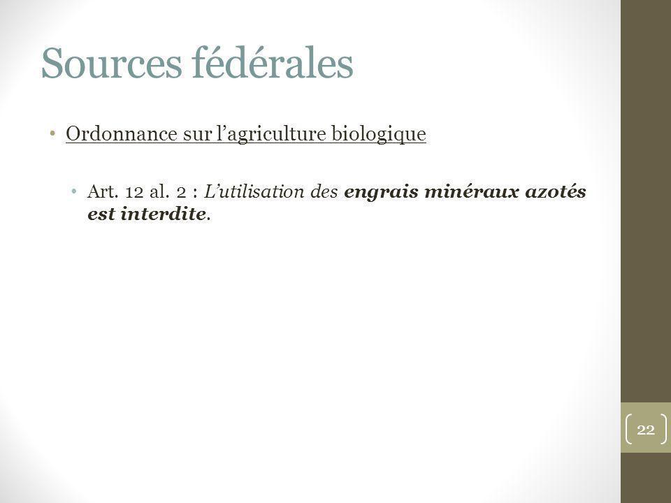 Sources fédérales Ordonnance sur lagriculture biologique Art. 12 al. 2 : Lutilisation des engrais minéraux azotés est interdite. 22