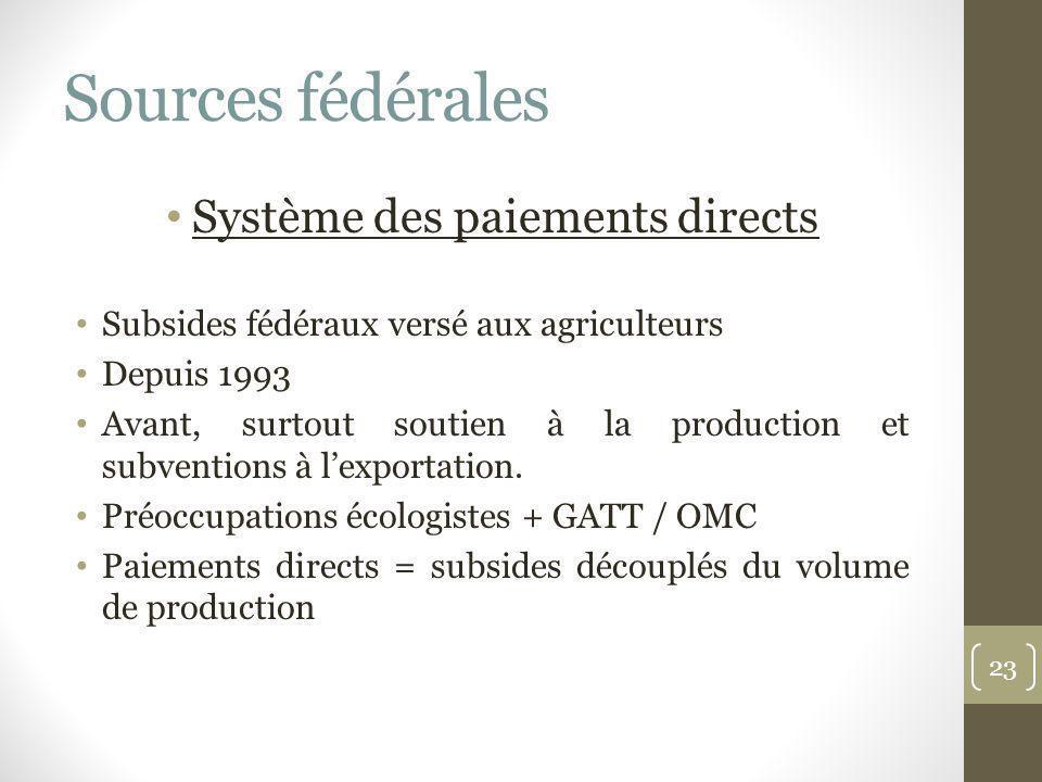 Sources fédérales Système des paiements directs Subsides fédéraux versé aux agriculteurs Depuis 1993 Avant, surtout soutien à la production et subvent