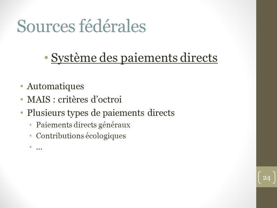 Sources fédérales Système des paiements directs Automatiques MAIS : critères doctroi Plusieurs types de paiements directs Paiements directs généraux C