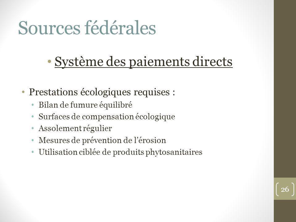Sources fédérales Système des paiements directs Prestations écologiques requises : Bilan de fumure équilibré Surfaces de compensation écologique Assol