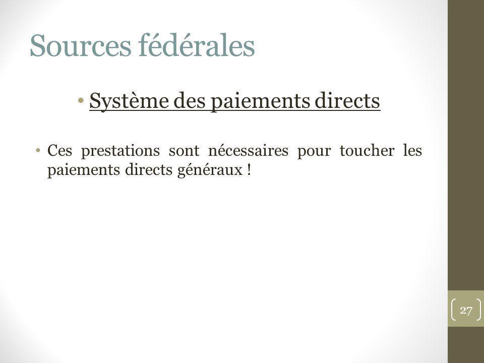 Sources fédérales Système des paiements directs Ces prestations sont nécessaires pour toucher les paiements directs généraux ! 27