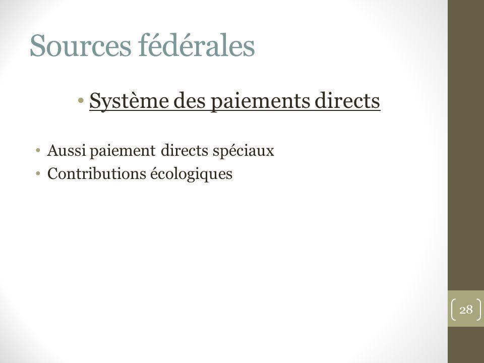Sources fédérales Système des paiements directs Aussi paiement directs spéciaux Contributions écologiques 28