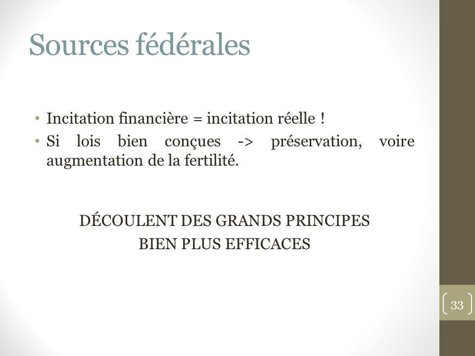 Sources fédérales Incitation financière = incitation réelle ! Si lois bien conçues -> préservation, voire augmentation de la fertilité. DÉCOULENT DES