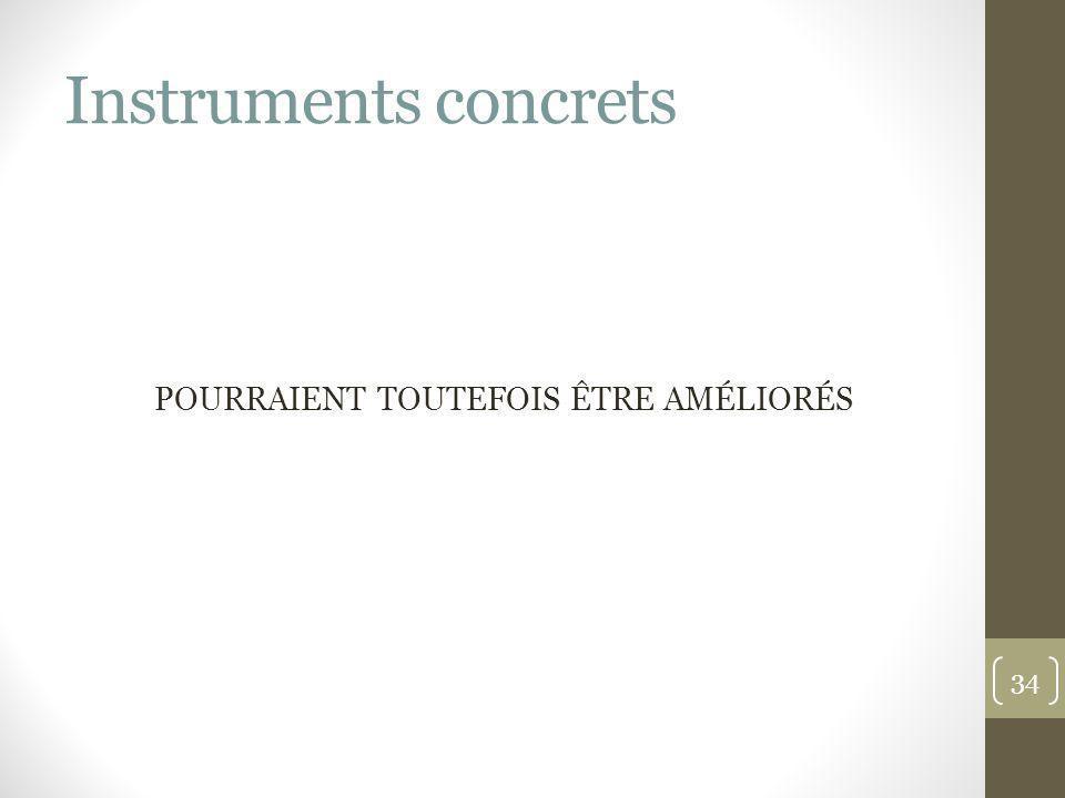 Instruments concrets POURRAIENT TOUTEFOIS ÊTRE AMÉLIORÉS 34