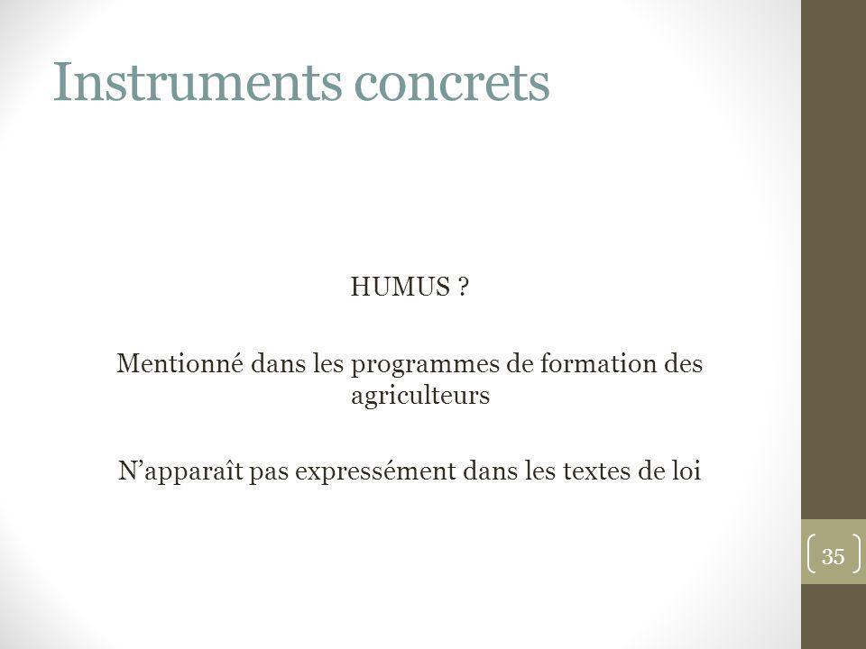 Instruments concrets HUMUS ? Mentionné dans les programmes de formation des agriculteurs Napparaît pas expressément dans les textes de loi 35