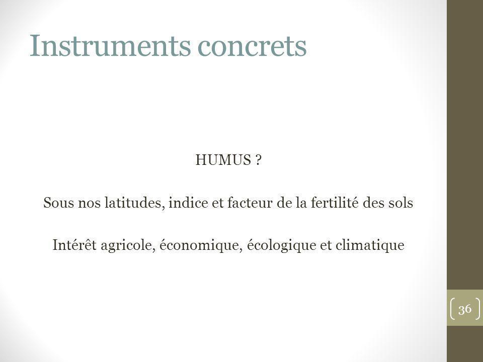 Instruments concrets HUMUS ? Sous nos latitudes, indice et facteur de la fertilité des sols Intérêt agricole, économique, écologique et climatique 36