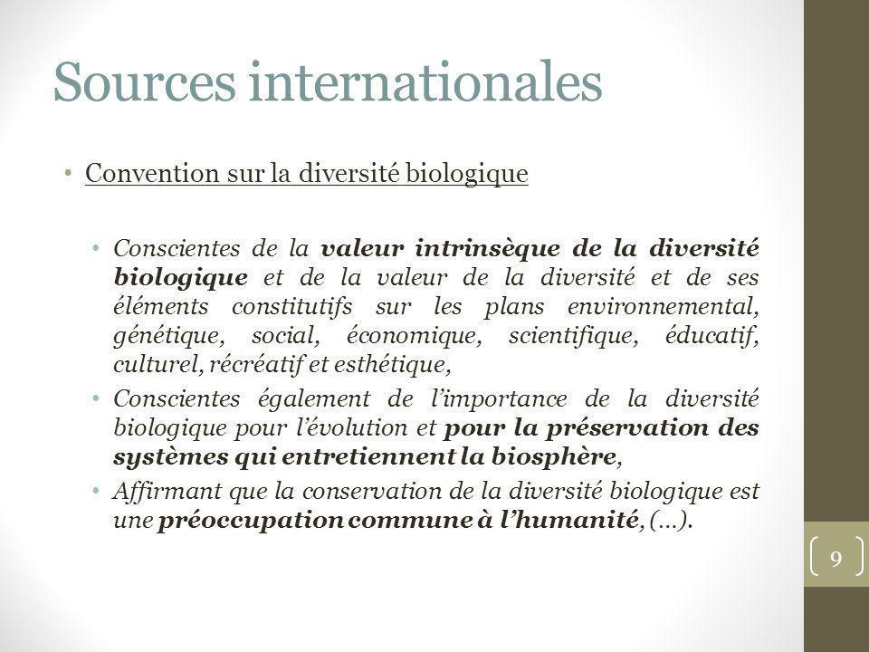 Sources internationales Convention sur la diversité biologique Conscientes de la valeur intrinsèque de la diversité biologique et de la valeur de la d