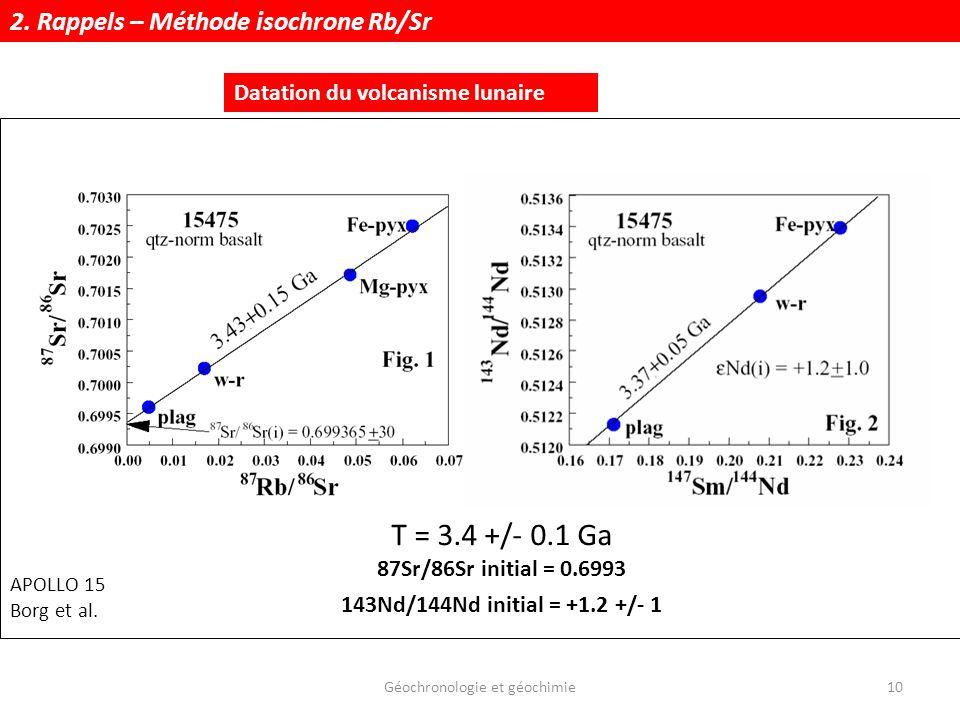 Géochronologie et géochimie10 Datation du volcanisme lunaire APOLLO 15 Borg et al. T = 3.4 +/- 0.1 Ga 87Sr/86Sr initial = 0.6993 143Nd/144Nd initial =