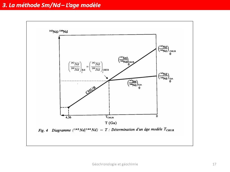 Géochronologie et géochimie17 3. La méthode Sm/Nd – Lage modèle