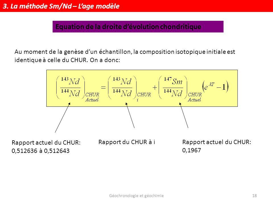 Géochronologie et géochimie18 Au moment de la genèse dun échantillon, la composition isotopique initiale est identique à celle du CHUR. On a donc: Rap