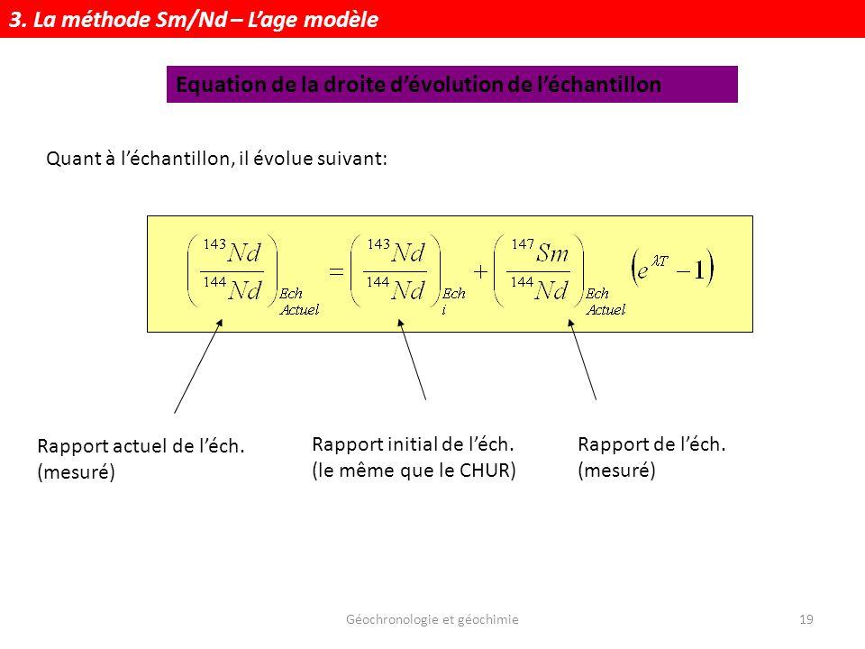 Géochronologie et géochimie19 Quant à léchantillon, il évolue suivant: Rapport actuel de léch. (mesuré) Rapport initial de léch. (le même que le CHUR)