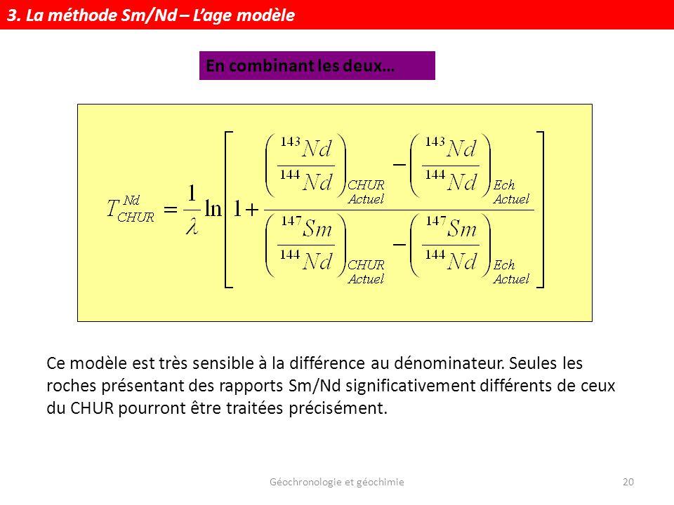 Géochronologie et géochimie20 Ce modèle est très sensible à la différence au dénominateur. Seules les roches présentant des rapports Sm/Nd significati