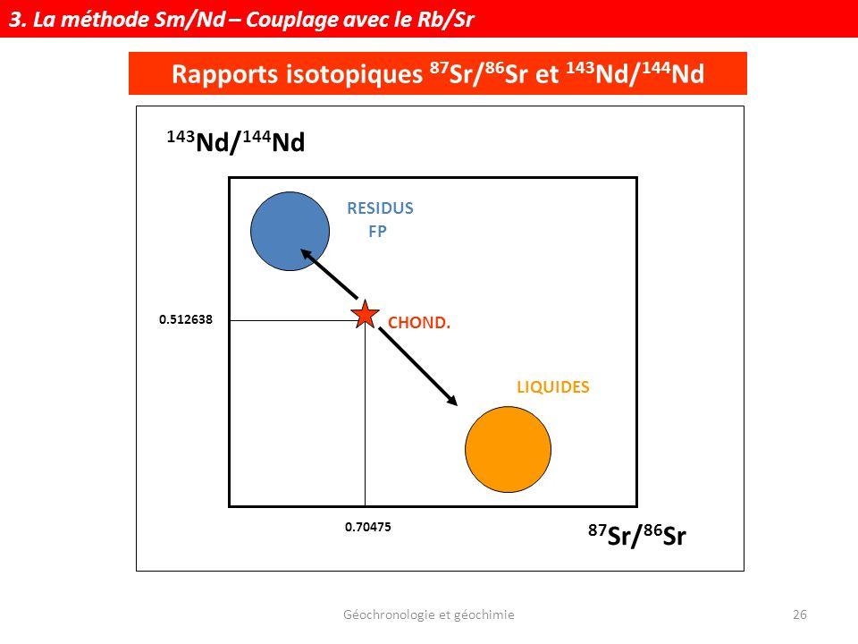 Géochronologie et géochimie26 Rapports isotopiques 87 Sr/ 86 Sr et 143 Nd/ 144 Nd 143 Nd/ 144 Nd 87 Sr/ 86 Sr CHOND. 0.70475 0.512638 RESIDUS FP LIQUI