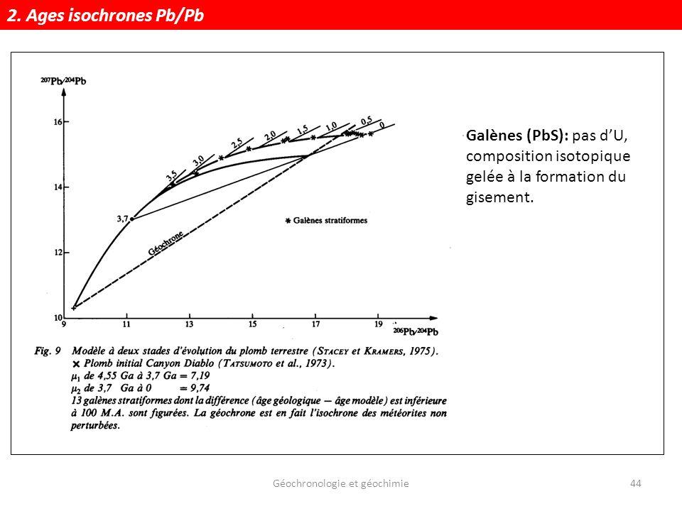 Géochronologie et géochimie44 Galènes (PbS): pas dU, composition isotopique gelée à la formation du gisement. 2. Ages isochrones Pb/Pb
