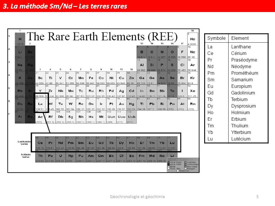 Géochronologie et géochimie5 SymboleElement La Ce Pr Nd Pm Sm Eu Gd Tb Dy Ho Er Tm Yb Lu Lanthane Cérium Praséodyme Néodyme Prométhéum Samarium Europi
