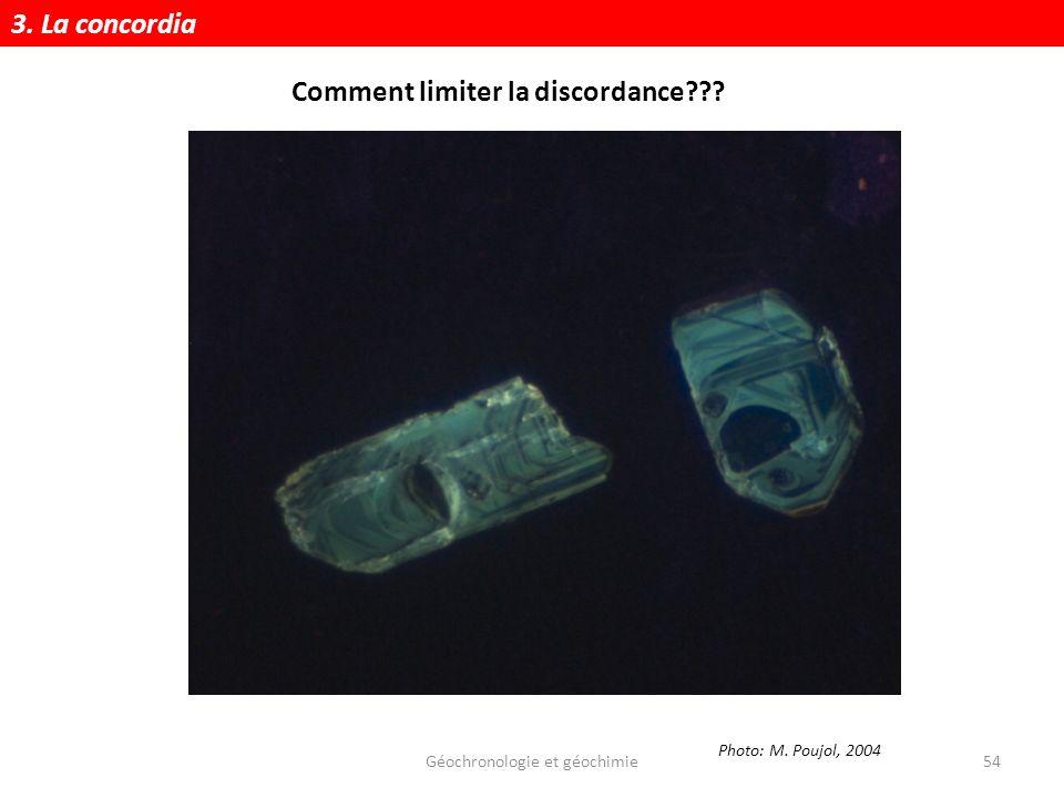 Géochronologie et géochimie54 Photo: M. Poujol, 2004 3. La concordia Comment limiter la discordance???