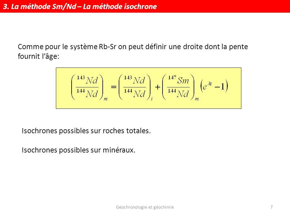 Géochronologie et géochimie28 La méthode U/Pb Principe Ages isochrones Th-Pb et U-Pb Isochrone Pb-Pb.