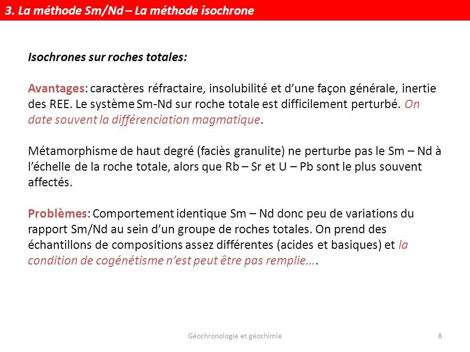 Géochronologie et géochimie19 Quant à léchantillon, il évolue suivant: Rapport actuel de léch.