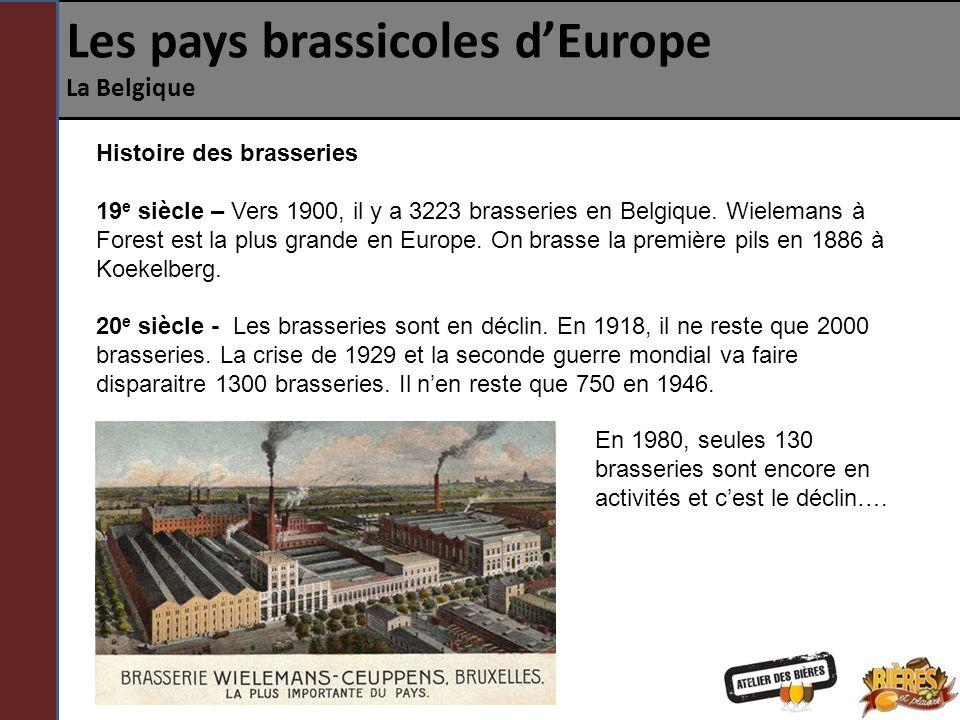 Les pays brassicoles dEurope La Belgique Histoire des brasseries 19 e siècle – Vers 1900, il y a 3223 brasseries en Belgique. Wielemans à Forest est l