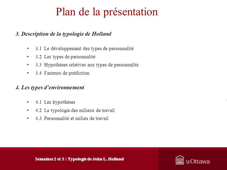 Semaines 2 et 3 : Typologie de John L. Holland Plan de la présentation 1. Introduction à létude des théories en counselling de carrière 1.1 Importance